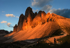 Tre Cime at sundown.... (Julia - still on and off!) Tags: photographybyjuliamartin trecime dolomites italy enrosadira sunset
