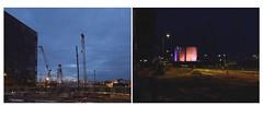 In the mood for night (michelle@c) Tags: urban suburban urbanscape city cityscape architecture contemporan worksite crane industrialhostel cement industry calcia silo lighting night district ivrysurseine paris xiii diptych 2018 michellecourteau