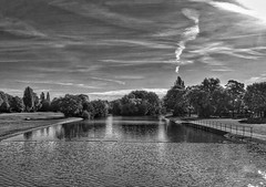 The tree, with a cloud chimney!😊 (LeanneHall3 :-)) Tags: blackandwhite mono chimney clouds cloudsstormssunsetssunrises sky skyscape talkativeclouds grass lake trees branches leaves eastpark hull kingstonuponhull landscape canon 1300d groupenuagesetciel