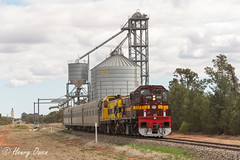 Silo to Silo (Henry's Railway Gallery) Tags: 4702 4701 47class caterpillar diesel lvr lachlanvalleyrailway srs sydneyrailservices akcars inspectiontrain sk83 goolgowi