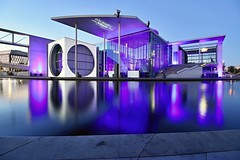 Light show in Berlin (safris76) Tags: berlin spree germany lightshow show window whitefacade water travel sunset stone sidewalk romance river reflection public pavement oldtown office night museum modern mirror lowlight longexposure light library lamp glass geometric europe dirt darkness concrete city bluehour blue architecture