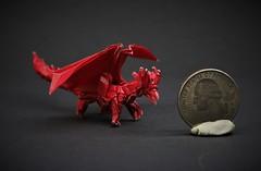 Origami TINY Ancient Dragon (Tankoda) Tags: origami paper art travis nolan shuki kato satoshi kamiya ancient dragon 6 inch red monocolor mono color kami works black quarter giant kidding