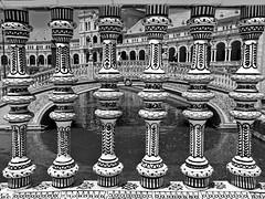 Plaza de España (RobertLx) Tags: españa europe seville sevilla buidling column mudejar plaza plazadeespaña architecture city square monochrome bw spain bridge canal water andalusia