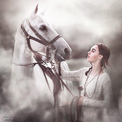Reassurance ({jessica drossin}) Tags: jessicadrossin portrait horse white gray grey bridal woman girl teen hair blowing connection love care lace fog dream wwwjessicadrossincom