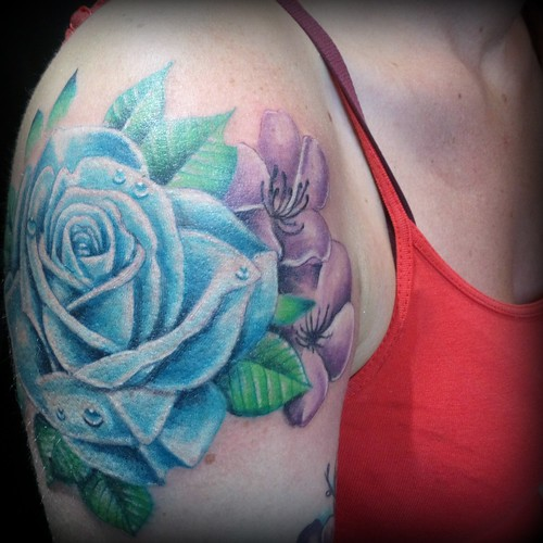 blue rose and purple