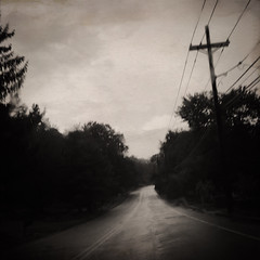 Last Chance to Evacuate (Creepella Gruesome) Tags: iphone6splus hipstamatic road car windshield drive motion blur rain trees sky squareformat sepia spooky mysterious phantasm