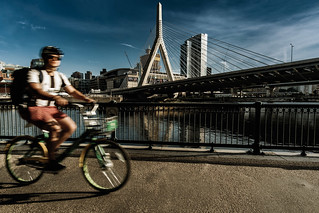 Cycling by the Zakim Bridge (Bicycle Series No. 17)