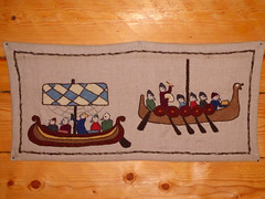 Storholmen (davidmcnuh) Tags: sweden longship embroidery tapestry longboat boat ship viking museum openair openairmuseum village vikingvillage
