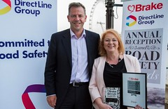 Judith is presented with the Parliamentarian of the Year award at the annual reception of road safety charity Brake