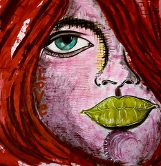 Simona (franck.sastre) Tags: rose red mujer art painting popart rostro face