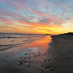 Sunset (lesleydugmore) Tags: snowdonia wales northwales sunset orange beach sea sand blue pink cloud outdoor outside barmouth uk england europe