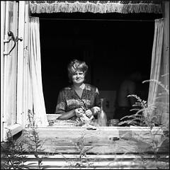 *** (Czesław Wojtkowski) Tags: square certosix certo c6 tessar rangefinder mediumformat 120 blackandwhite rollfilm monochrome bw 6x6 portrait female window