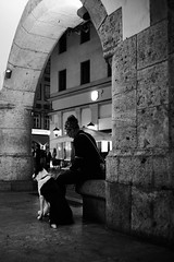 Waiting for the owner to end texting... (iamunclefester) Tags: münchen munich blackandwhite monochrome street night dark owner dog texting arch arc stone