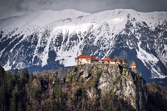 0836 Red Roofs (Hrvoje Simich - gaZZda) Tags: outdoors noperson sky forest trees red roofs building snow castle bled slovenia europe travel nikon nikond750 nikkor283003556 gazzda hrvojesimich
