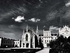 Lednice, Czech Republic (maryduniants) Tags: light clouds blackandwhite lednice czechrepublic castle