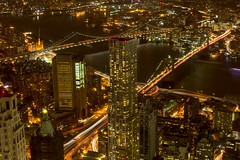 Brooklyn- and Manhattan-Bridge as seen from One World Observatory, New York City (OnTheRoadAgainBlog) Tags: nyc newyork newyorkcity nightshots night brooklynbridge bridges manhattan usa us eastcoast canon 700d 55mm light