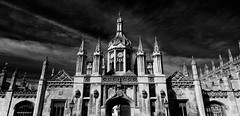 king's college cambridge entrance gate (khrawlings) Tags: kings college cambridge door gate entrance tower building architecture bw blackandwhite monochrome uk england