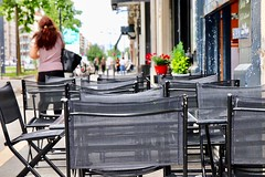 A Street Capture in Grenoble, France (Haytham M.) Tags: france grenoble cafe chairs street