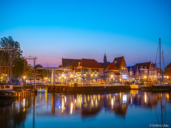 Blue hour in Holland (✦ Erdinc Ulas Photography ✦) Tags: holland nederland netherlands dutch blue hour bluehour pink purple sky water bridge reflection city hoorn harbour boat ship light houses building travel old traditional panasonic landscape night sunset colourful