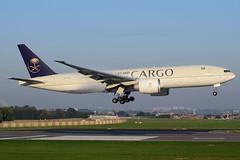 HZ-AK74 Saudi Arabian Airlines Boeing 777-FFG (Dutchairplaneshooter) Tags: hzak74 saudi arabian ca cargo freighter boeing 777 bru ebbr brussels airport landing 01 runway nikon d3300
