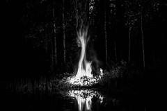 Fire Keeper Soul (miiav) Tags: finland bonfire balefire fire kokko lake reflection blackandwhite photography blackandwhitephotography mystic mysterious spell ancient trees atmospheric dark forest autumn nature naturephotography white black mood nordic north