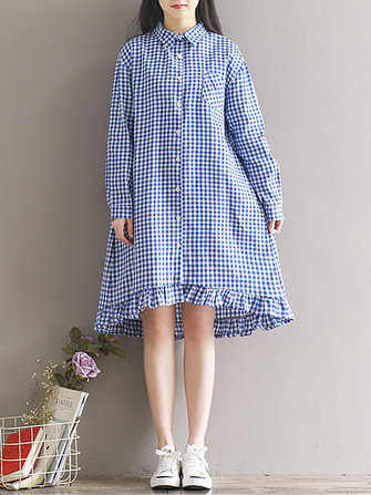 Women Casual Plaid Lapel Shirt Dress (1325731) #Banggood