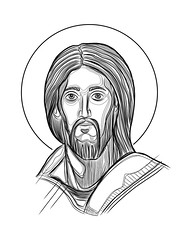 Jesus Christ Face vector digital illustration (iknuitsin) Tags: handdrawn illustration drawing ink sketch image religious religion catholic christian spiritual divine holy sacred vector jesus christ face portrait head saint man beard design art graphic icon pantocrator mexico