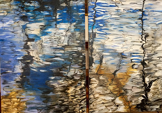 Reflections in Water - The Murray River; My two oil paintings highlighted with ink