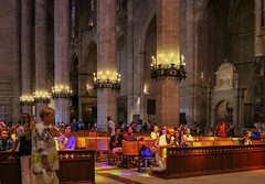 Coloured Sunlight (haberlea) Tags: cruise majorca palma light nave architecture church cathedral palmacathedral gothic medieval interior