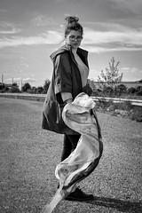 (milana_kovalonoka) Tags: photography girl scarf wind autumn black blackandwhite white colourless moodandatmosphere mood atmosphere warm pretty