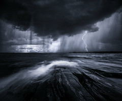 Black waters. (Night and Mood photographs from Finland) Tags: finland oceans water mood toned sky rain storm clouds porkkala dark