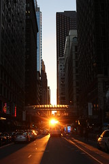 ChicagoHenge (mstrellish) Tags: chicago il illinois chicagohenge sunset goldenhour bus travel destination street sun silhouette midwest tourism sky avenue citylife fall equinox september