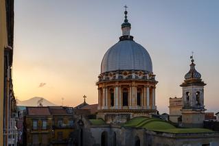 Basilica dello Spirito Santo and Vesuviuis at sunrise