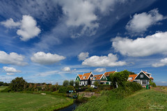 The Red Roofs of the Rozewerf (Johan Konz) Tags: dike island marken house waterland netherlands watercourse water grass blue sky white cloud outdoor scenery nikon d7500 landscape field grassland polfilter wandelrouterondmarkenoverdedijk terp rozewerf green wall window red roof tree road painting hamlet eu