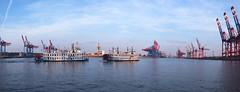 Panorama Hamburger Hafen (photos.yang) Tags: panorama harbour hafen hamburg crane industry river elbe germany ship ferry sky reflection