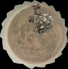 Curiosity and Mount Sharp, Sol 1943, 2 (sjrankin) Tags: 26august2018 edited nasa mars msl curiosity galecrater panorama selfportrait sky haze mountains craterrim mountsharp dust sand rocks sol1943 5048mb huge