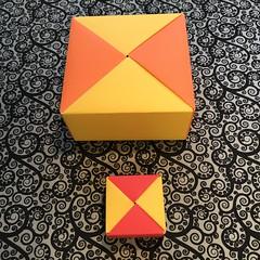 ORIGAMI BOXES (7) (JOHN MORGANs OLD PHOTOS.) Tags: made by john morgan 160 gsm card for my ribbon brooches origami boxes box