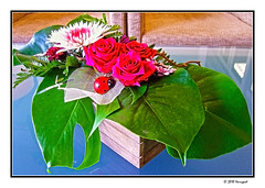 flower arrangement (harrypwt) Tags: harrypwt borders framed city samsung nv10 nature flowers red green white leaves decoration abstract
