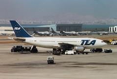 OO-TEF Airbus A300B1 cn 002 Trans European Airways Athens 27Sep88 (kerrydavidtaylor) Tags: lgat ath a300 tea