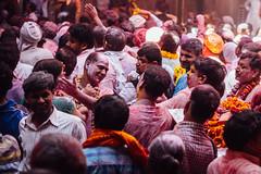 Men in Shri Banke Bihari Mandir for Holi, Vrindavan India (AdamCohn) Tags: abeer adamcohn bankebiharimandir hindu india shribankeybiharimandir vrindavan gulal holi pilgrim pilgrimage अबीर गुलाल होली