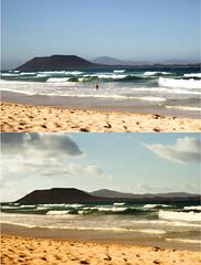 Isla de Lobos desde corralejo (Pablo Daviky) Tags: isla lobos islote fuerteventura corralejo playas dunas arena volcán olas sky cielo nubes islascanarias