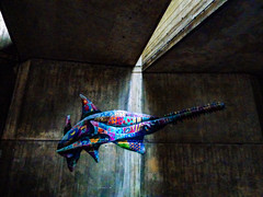 Caught in the Light (Steve Taylor (Photography)) Tags: shark mosaic sawtoothshark shaftoflight fish graffiti mural streetart colourful concrete uk england london gb greatbritain zoo londonzoologicalgardens regentspark patchwork zoologicalsocietyoflondon zsl