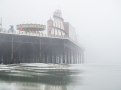 Brighton Place Pier on the mist (lomokev) Tags: england unitedkingdom gb olympusomdem5 olympus omd em5 olympusomd brighton pier brightonpier palacepier mist fof fog helter skelterseawild swimming