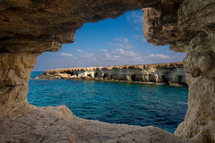 Sea Cave view - Cyprus (Palnick) Tags: cave landscape travel sea cyprus cape mediterranean nature europe greco tourism water island destination bay napa cliff coast ayia summer rock vacation blue cavo lagoon resort seaside scenic view holiday beautiful landmark protaras beach agia greko stone paradise coastline arch clear european rocky kavo natural panorama aqua turquoise shore grotto