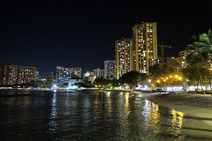 Waikiki at night (BarryFackler) Tags: hawaii oahu honolulu outdoor hawaiianislands 2018 buildings structures highrises hotels resorts condominiums skyline scene landscape reflection water bay pacificocean sea ocean saltwater pacific sky trees palmtrees palms night afterdark nighttime evening lights citylights crane lifeguardtower urban city beach shore coastline littoral seawater seashore shoreline coastal seaside barryfackler vacation barronfackler