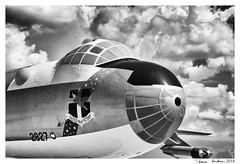 PEACE IS OUR PROFESSION (machtwoimages) Tags: pimaairmuseum pasm pimaairandspacemuseum tuscon tusconaz tusconarizona canon canonrebel blackandwhite monochrome googlenik b36 b36peacemaker clouds monsoon coldwar bomber
