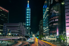 Taipei Image [ 印象台北 ] (crazytony55) Tags: d90 nikon taiwan taipei skyscraper nightshot overpass lighttrail taipei101 xinyidistrict traffic 台北 台灣 台北101 車軌 夜景 信義區 摩天大樓