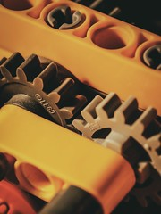 Let's Play (DeanoNC) Tags: gx80 plastic macro legotechnics crane yellow cogs macromondays