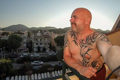 Marmaris selfie. (CWhatPhotos) Tags: cwhatphotos man male tattooed upper body tattoo tribal
