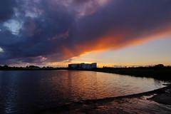 Last rays of sunlight (Steenjep) Tags: herning jylland jutland danmark denmark sø lake landskab landscape sky cloud himmel fuglsangsø tjørring sunset solnedgang blue blå refleks reflex